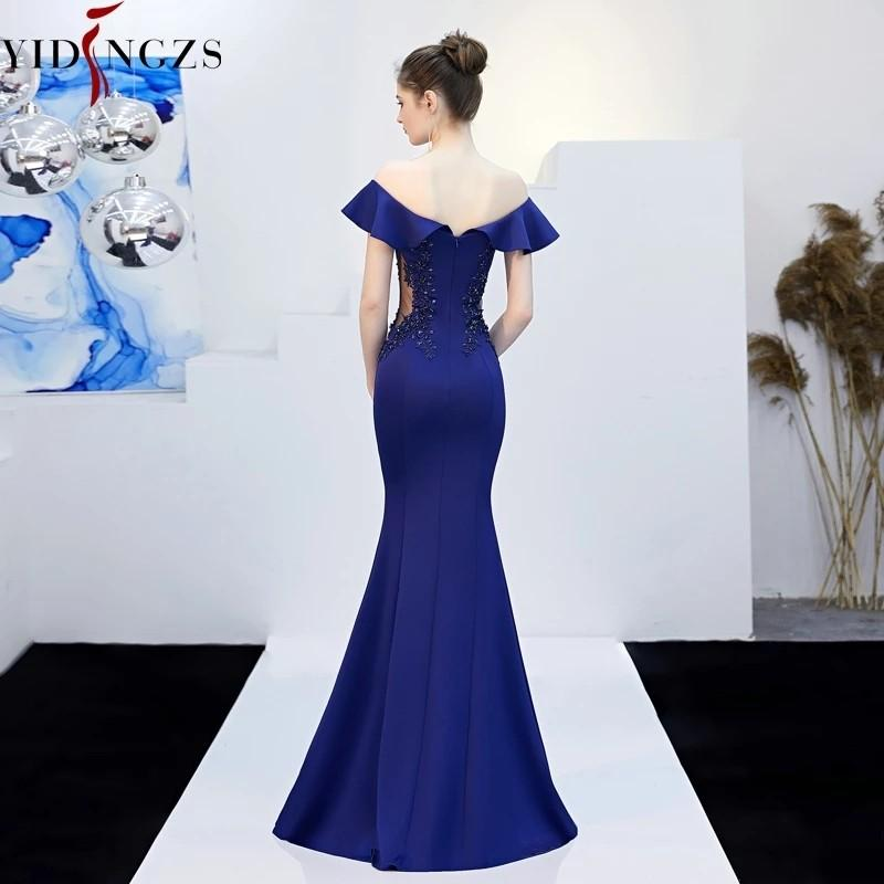 YIDINGZS See-through Appliques Beaded Long Evening Dress Off the Shoulder Elegant Party Dress discount for just first 3 days