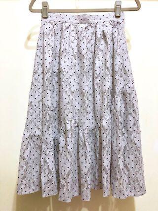復古古著vintage.日本製氣質俏皮波點水玉點點花朵鏤空蕾絲拼接波浪圓裙長裙