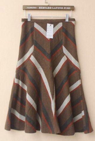 復古古著vintage.日本製氣質幾何線條毛料傘狀裙波浪長裙