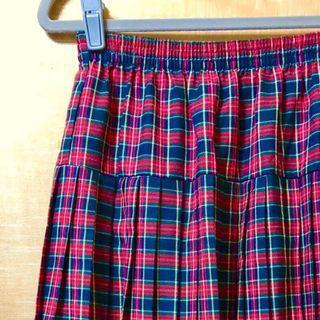 復古古著vintage.紐西蘭製紅色格紋氣質毛料蘇格蘭裙百褶裙長裙