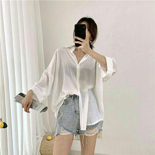 白色透膚襯衫 防曬襯衫+紫色字母T