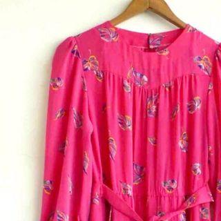 復古古著vintage.桃紅色*彩色鮮豔葉子圖騰印花雪紡紗連身裙洋裝