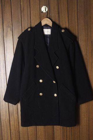 復古古著vintage.日本製街頭時尚軍裝風雙排釦長版毛呢毛料大衣外套