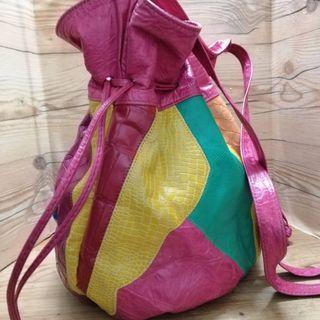 Vintage colour block patchwork bucket
