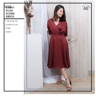 Scuba Dress Maroon