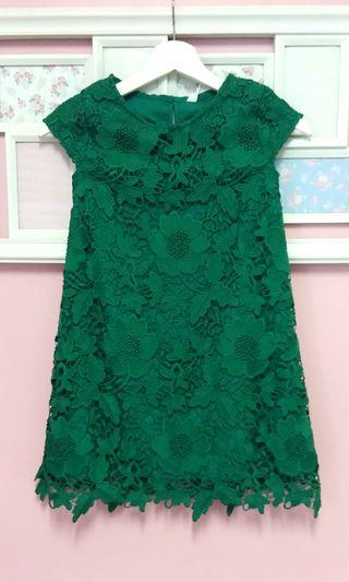 H&M GREEN LACE DRESS FOR KIDS.