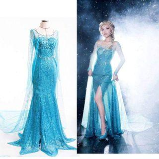 Frozen princess Elsa dress party costume with wig
