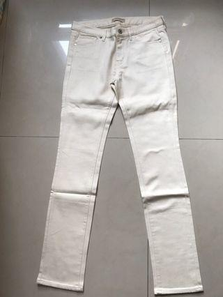 Uniqlo米白色彈性長褲