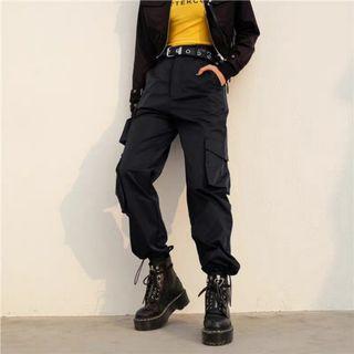 黑色工裝長褲