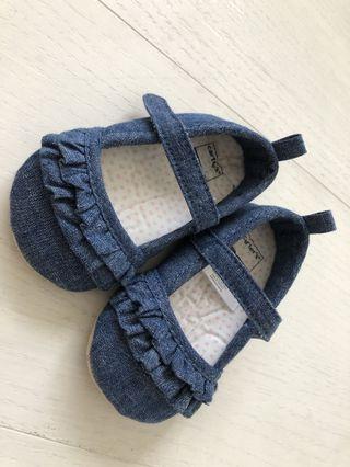 🍋 全新女寶 Carter's荷葉牛仔布鞋鞋 9-12m