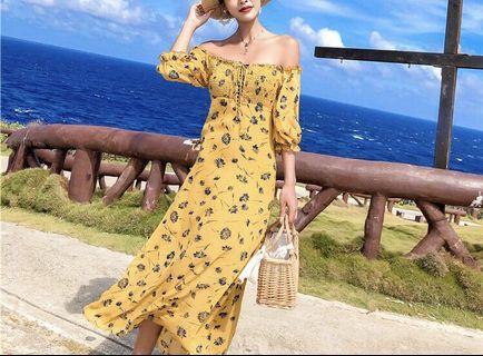 黃色碎花燈籠袖一字領長洋裝