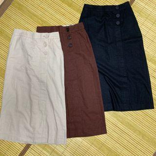 韓國棉麻過膝窄裙 S-M可以穿(三色可挑)