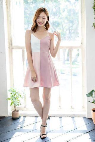 Pink Colourblock Dress (S) BNWT
