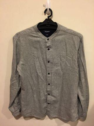 PULL&BEAR 立領 灰色斜紋襯衫 S號