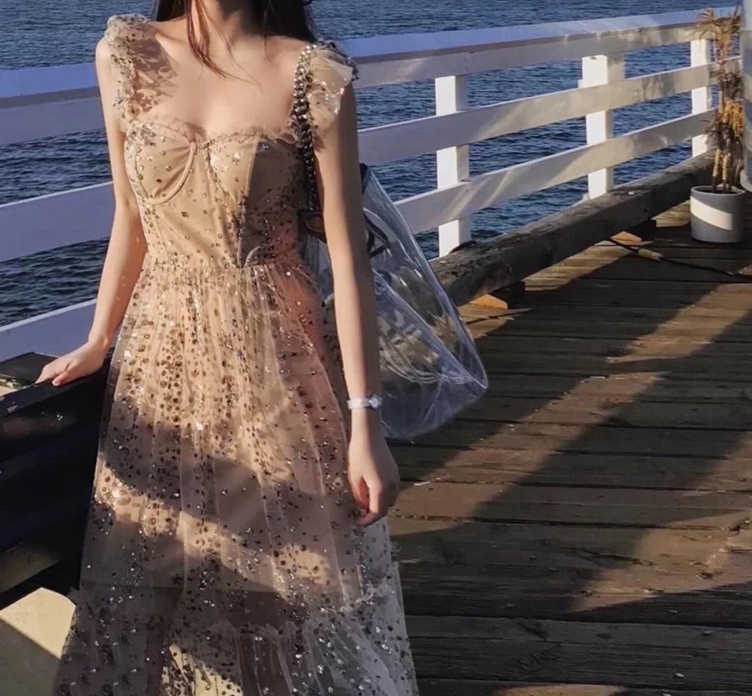 2019 Brand New Women Fashion Dress Colorful Sequins Mesh Fairy Dress Ruffles Strappy-backless Midi Dress Vestidos De Fiesta