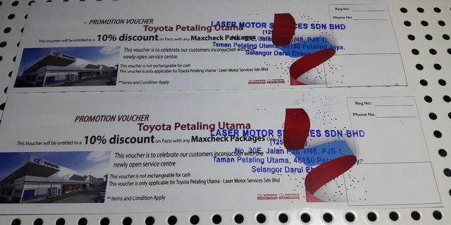 Toyota sevice centre voucher car service voucher discount