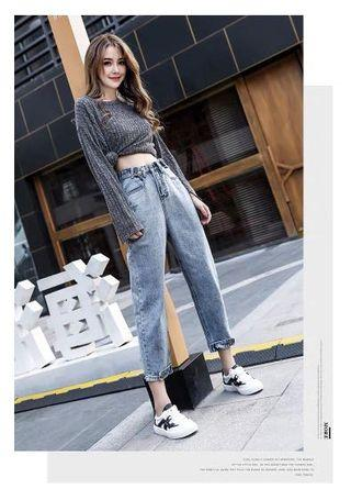 Jean Nine points trousers loose thin high waist jeans female 2019 new summer Korean version of the hole straight carrot pants•Seluar Karot Perempuan