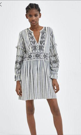 Free postage: Embroidered striped dress