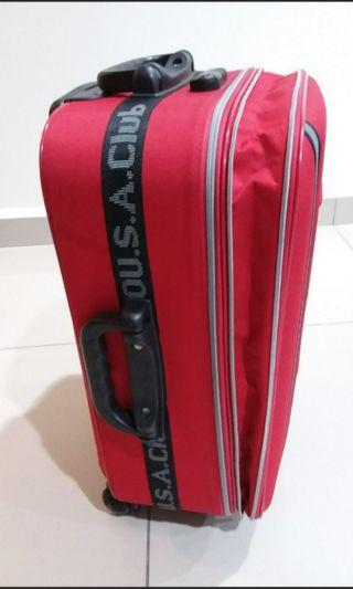 "Polo 20"" expandable red luggage"