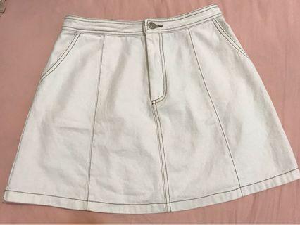 Pazzo 白色車線牛仔短裙