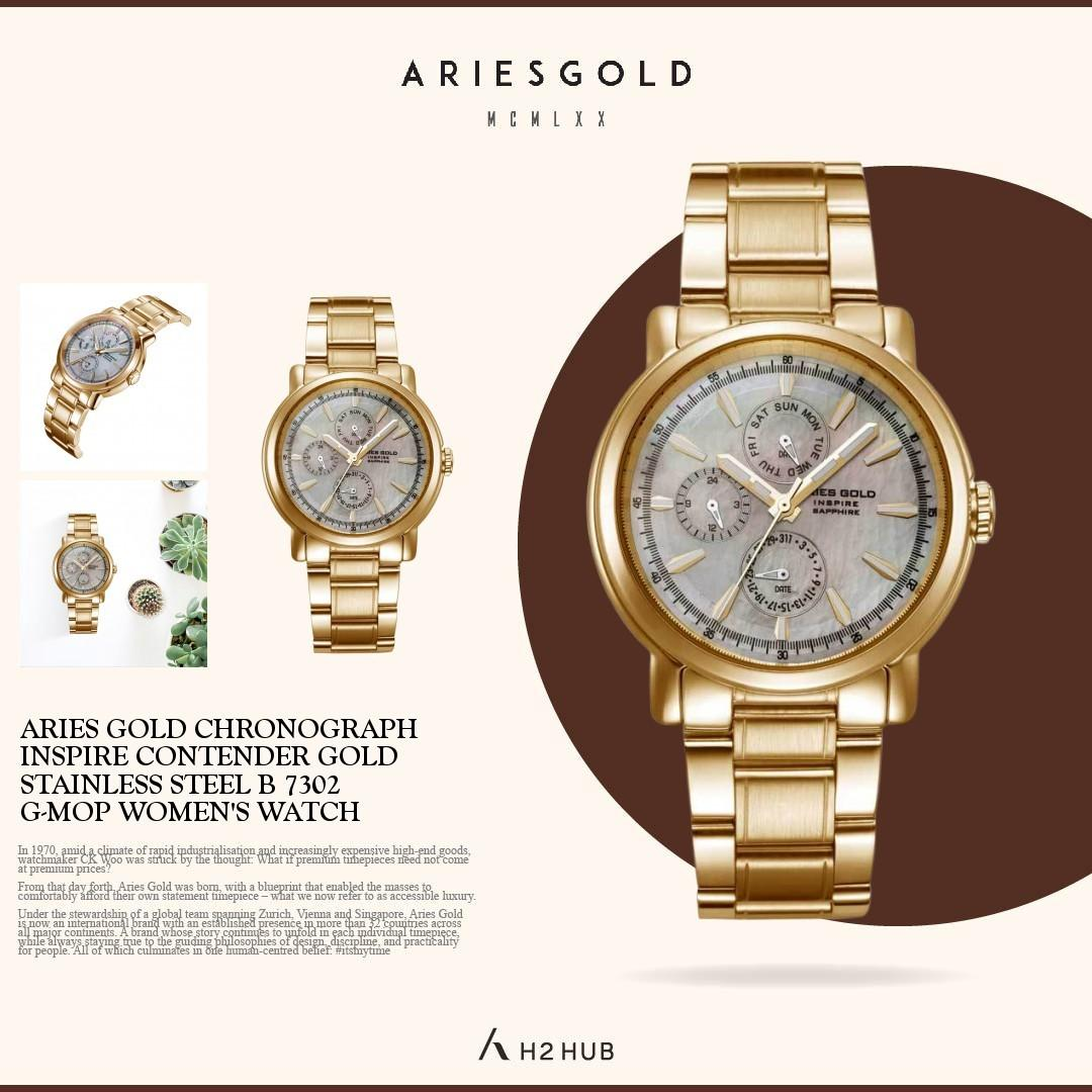 ARIES GOLD CHRONOGRAPH CONTENDER GOLD STAINLESS STEEL B 7302