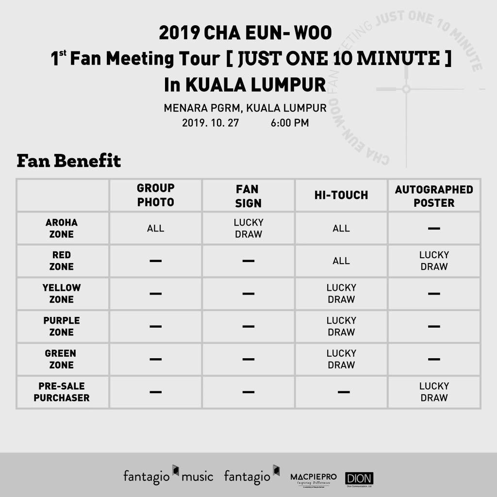 CHA EUN-WOO 1st Fanmeeting Tour [JUST ONE 10 MINUTE in KULA LUMPUR TICKETING SERVICES