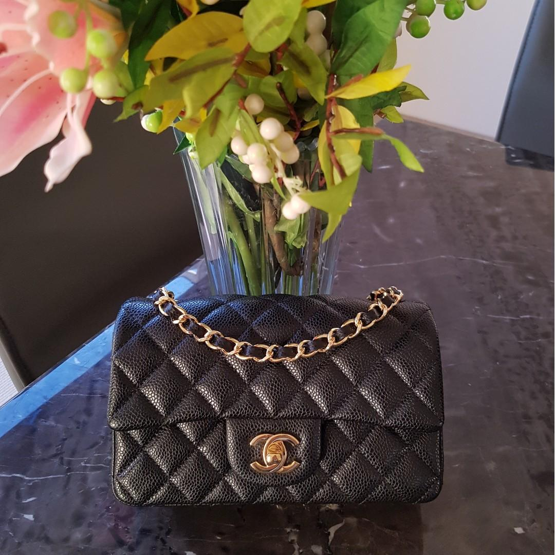 CHANEL Quilted Mini Rectangular Flap Black in Gold Hardware