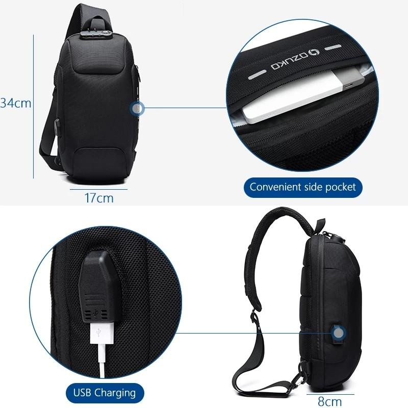 Crossbody Bag for Men Anti-theft Shoulder Messenger Bags Male Waterproof Short Trip Chest Bag Pack