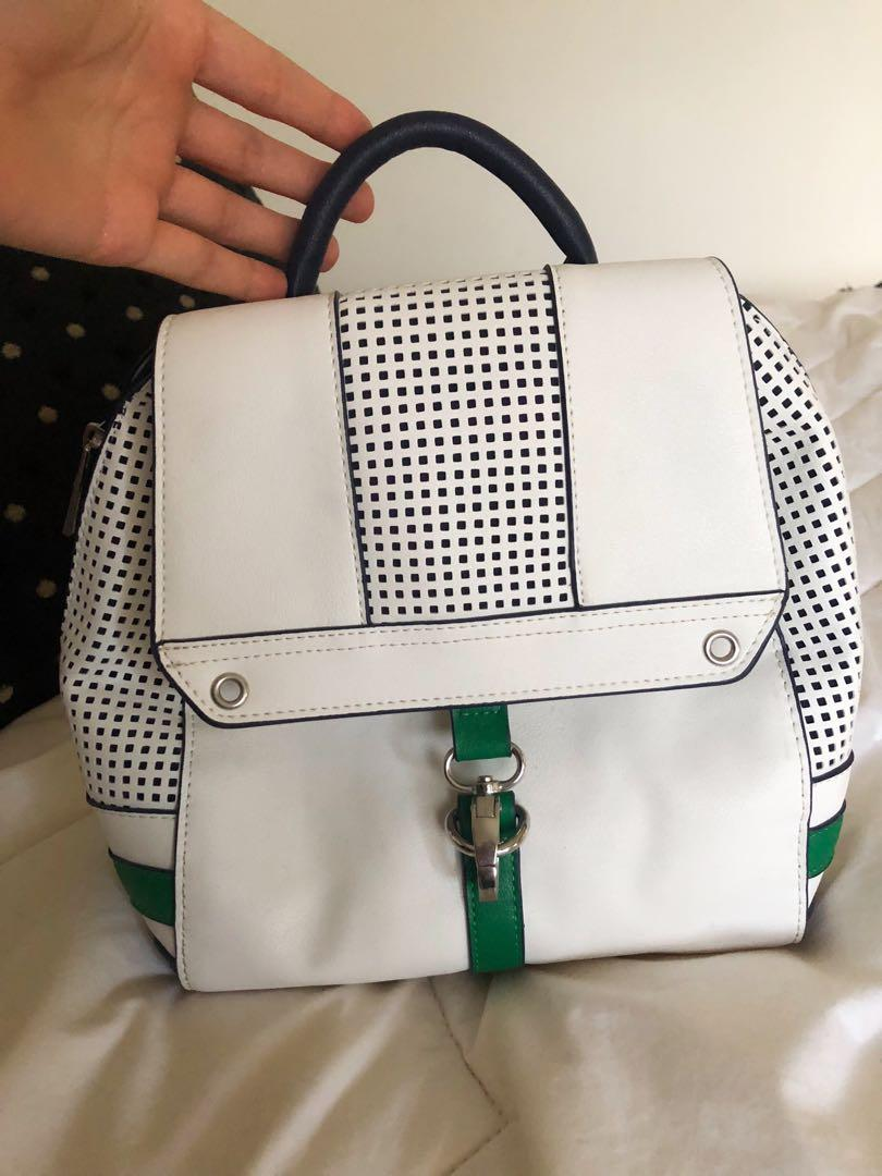 Danielle Nicole Perforated White Green Navy Faux Leather Backpack