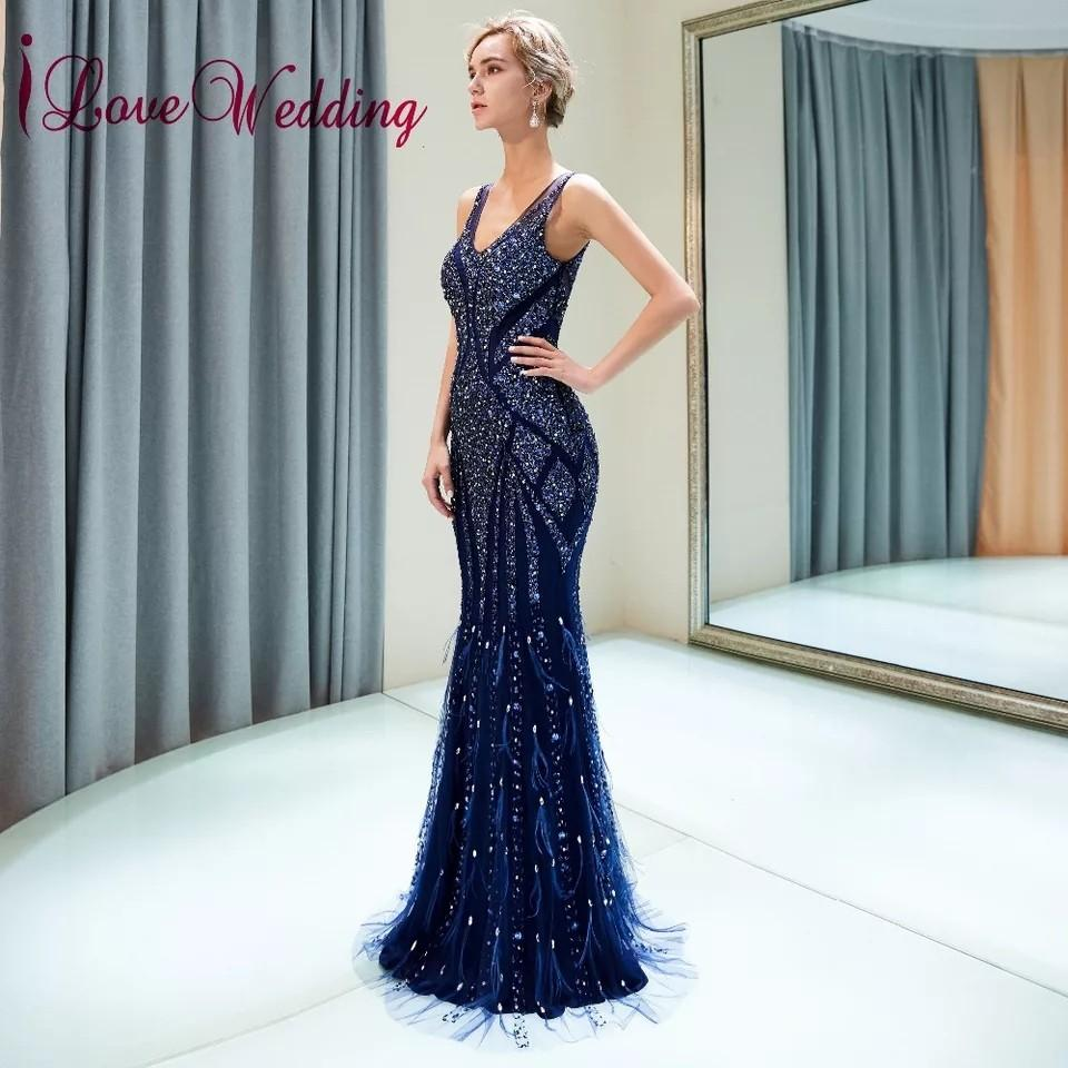 iLoveWedding Vestido de festa longo V Neck Heavy Major Beaded Navy Blue Tulle Mermaid Sexy Back Long Fishtail Evening Dresses
