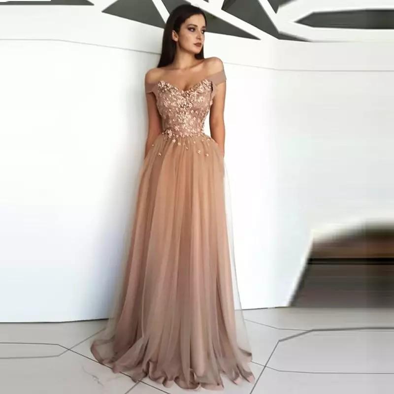 Evening Dress Long Appliques Beading Sexy Bride Banquet Elegant Floor-length Party Prom Dress Robe De Soiree