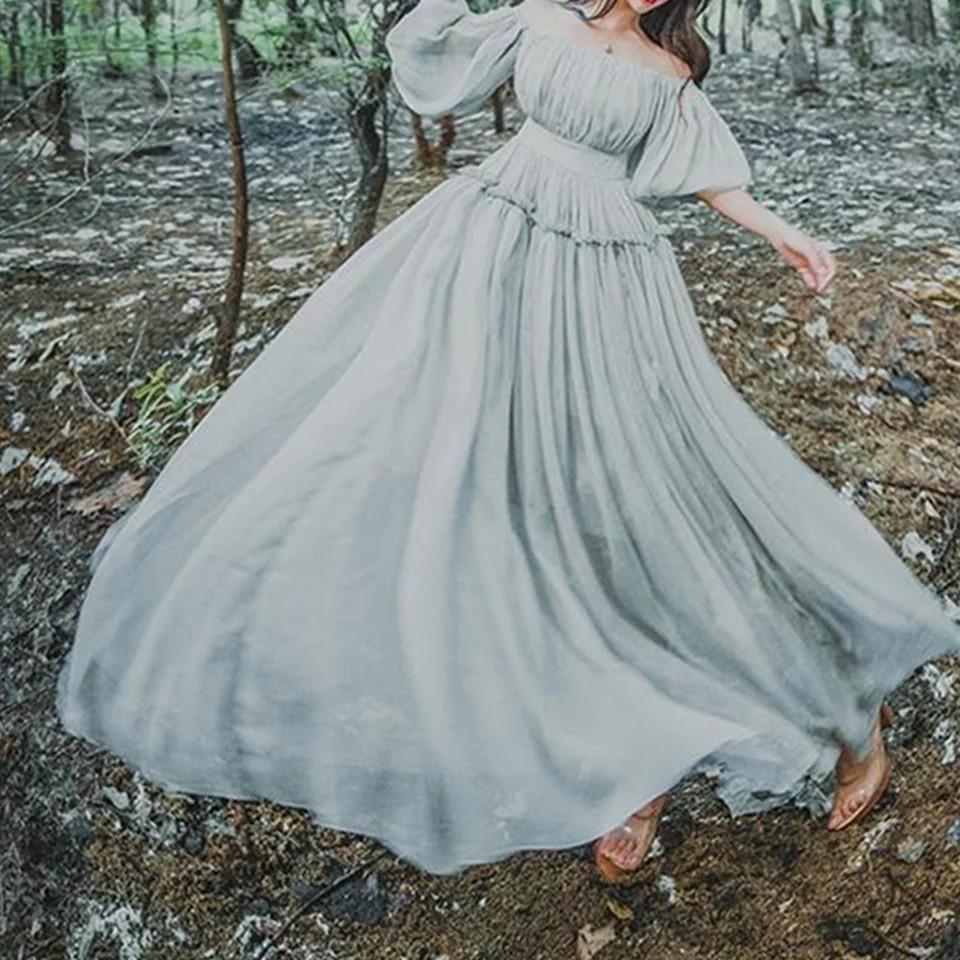new Retro Sweet Lolita Girls Womens Vintage dress 2018 Mori Elegant Fairy Princess slash neck dresses sexy party maxi long Dress
