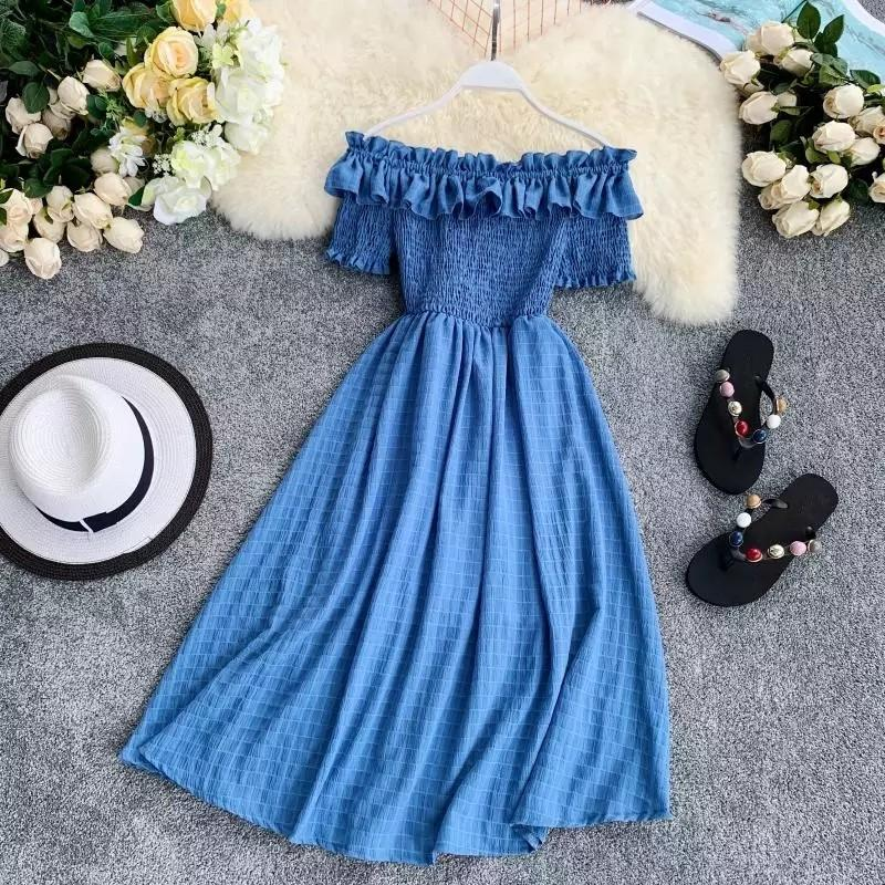 OCEANLOVE Women Summer Dresses Plaid Slash Neck Off Shouder Solid Vestidos 2019 Ruffles A-line High Waist Dress Robe Femme 11767