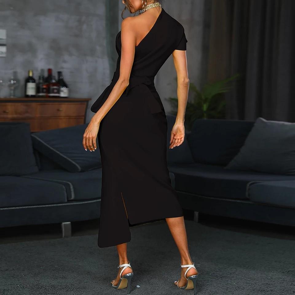 One shoulder ruched irregular party dress Women slit high waist plunging dresses Summer 2019 white black elegant vestidos femme
