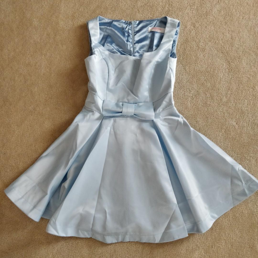 Satin light blue ball gown formal dress