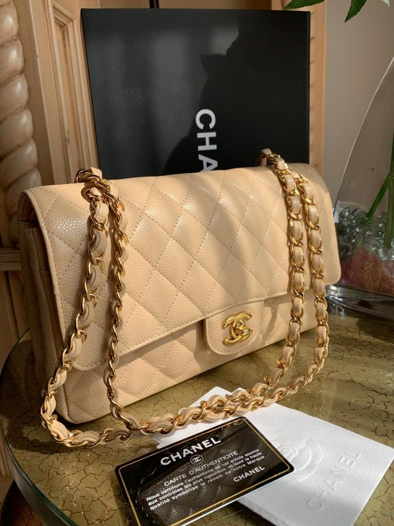 Super like new chanel beige caviar ghw complete set with original receipt db card holo box series 16 ,nett price