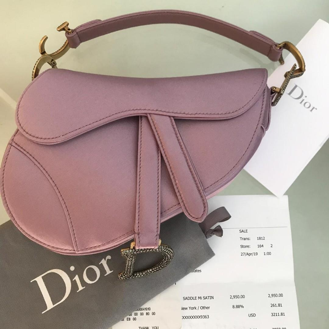 Superb like new 99% Dior saddle satin mini lilac with swarovski 2019 Rp 23,5 juta (ori receipt 45jt)