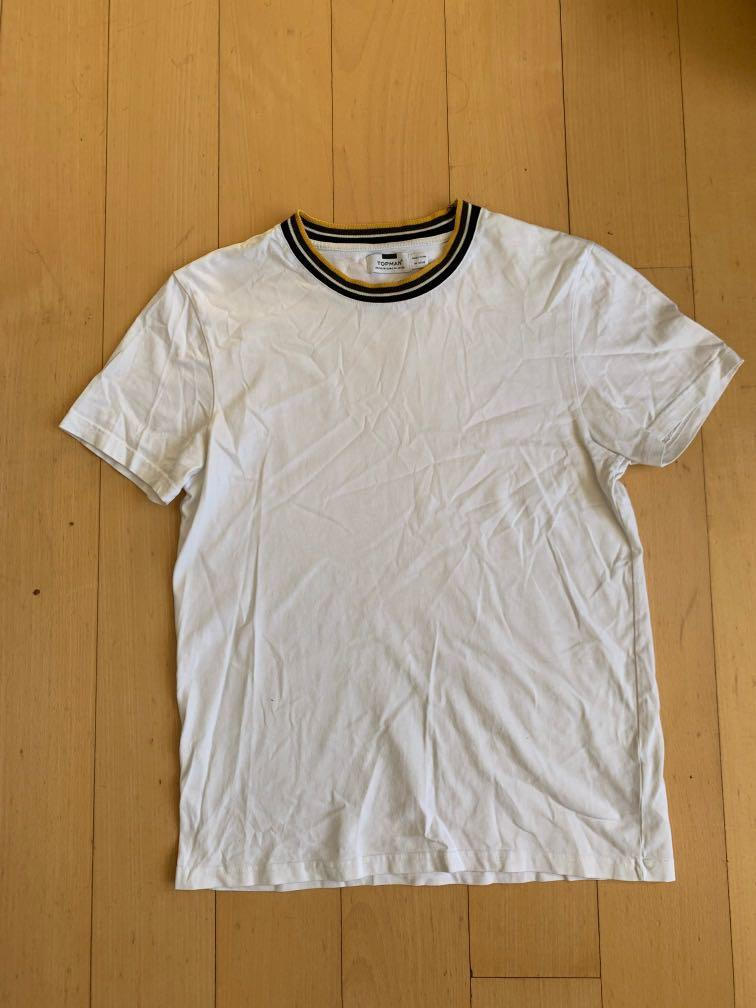 Topman White Tee with Collar Detailing