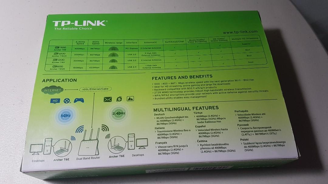 TP-LINK Archer T6E AC1300 Dual-Band Wireless Adapter