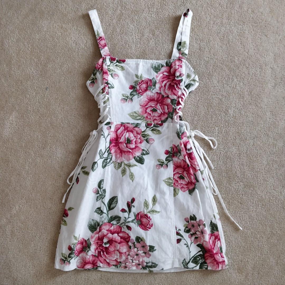 White Floral dress with self-tie strings on the side