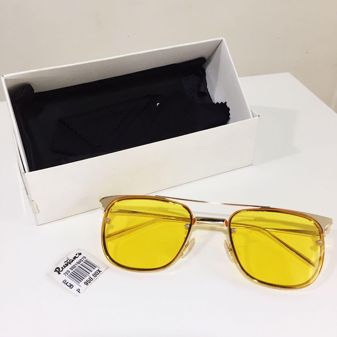 Yellow Tinted Retro Square Sunnies Shades Sunglasses Women S Fashion Accessories Eyewear Sunglasses On Carousell