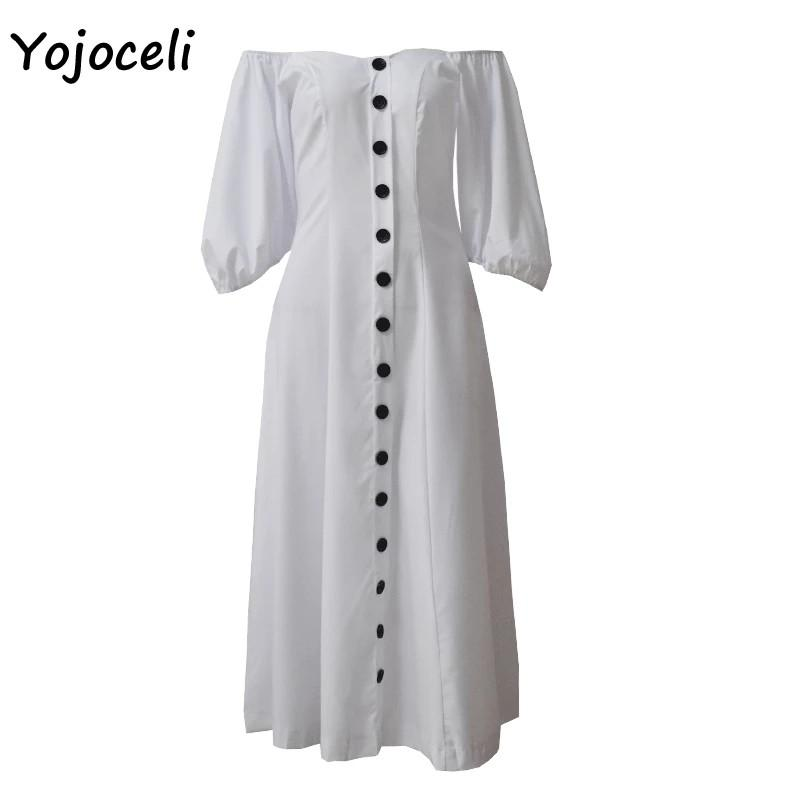 Yojoceli trendy white button dress women streetwear 2019 spring lanternsleeve midi dress off shoulder female vestidos