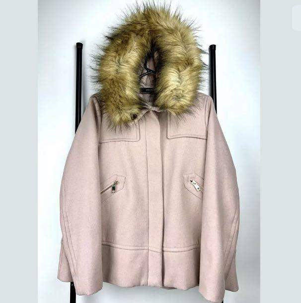 Zara M rose dusty pink pastel vegan fur hoodie jacket coat winter warm kawaii