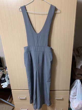 灰色西裝薄材質立體細紋不貼腿寬褲管連身褲 休閒 上班 超好搭