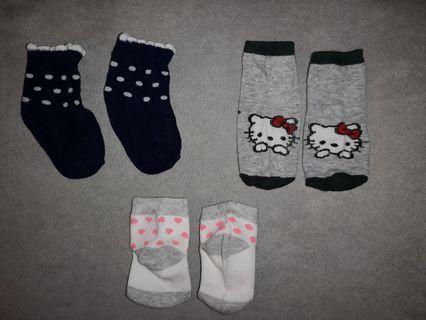 3 pair baby girl socks