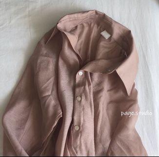 (轉售)正韓透膚藕粉襯衫