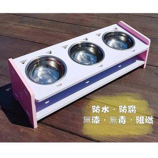 《微瑕款》寵物 三口 碗架 木餐桌 餐桌 斜口 斜面 環保 無漆 無毒