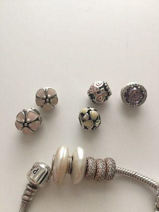 Authentic Pandora charms S925 silver, clip, pearl, pink, cherry blossom