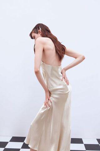 PREORDER Satin Halter Bareback Dress
