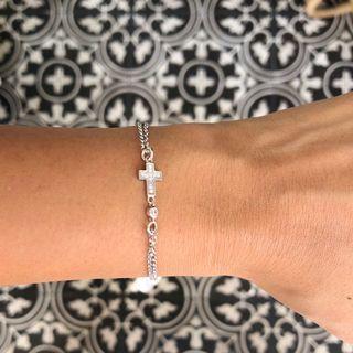🚚 Italian Sterling 925 Silver Pavè Cross Bracelet